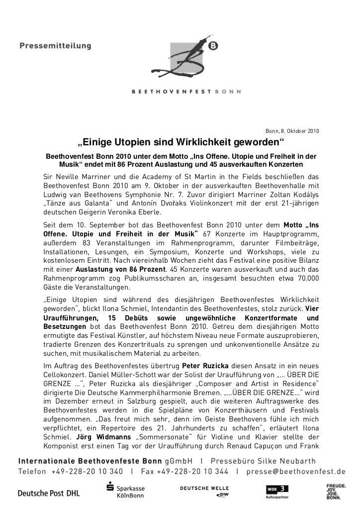 """Bonn, 8. Oktober 2010          """"Einige Utopien sind Wirklichkeit geworden           Einige                           gewor..."""