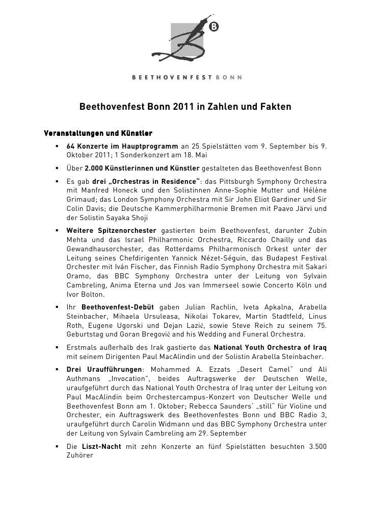 Beethovenfest Bonn 2011 in Zahlen und FaktenVeranstaltungen und Künstler     64 Konzerte im Hauptprogramm an 25 Spielstätt...