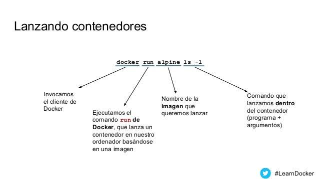 Lanzando contenedores docker run alpine ls -l Invocamos el cliente de Docker Ejecutamos el comando run de Docker, que lanz...