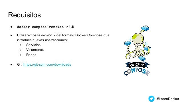 Requisitos ● docker-compose version > 1.6 ● Utilizaremos la versión 2 del formato Docker Compose que introduce nuevas abst...