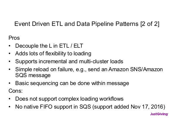 Event Driven ETL and Data Pipeline Patterns [2 of 2] Pros • Decouple the L in ETL / ELT • Adds lots of flexibility to load...