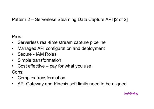 Pattern 2 – Serverless Steaming Data Capture API [2 of 2] Pros: • Serverless real-time stream capture pipeline • Managed A...
