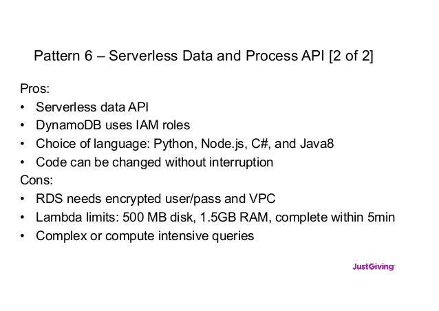 Pattern 6 – Serverless Data and Process API [2 of 2] Pros: • Serverless data API • DynamoDB uses IAM roles • Choice of lan...