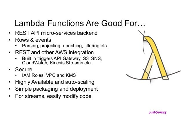 Lambda Functions Are Good For… • REST API micro-services backend • Rows & events • Parsing, projecting, enriching, filteri...