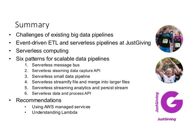 Summary • Challenges of existing big data pipelines • Event-driven ETL and serverless pipelines at JustGiving • Serverless...