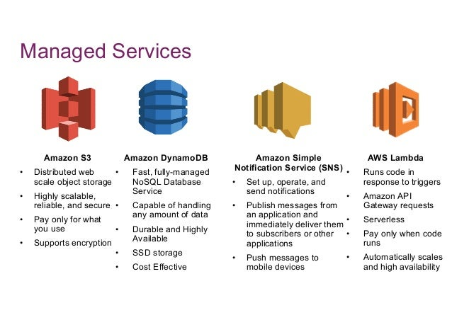 Managed Services Amazon S3 • Distributed web scale object storage • Highly scalable, reliable, and secure • Pay only for w...