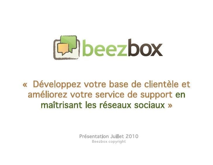 «Développez votre activité en maîtrisant et en exploitant les réseaux sociaux »<br />Présentation Août 2010<br />Beezbox ...