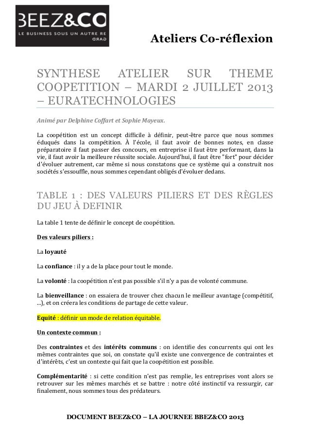 Ateliers Co-réflexion 	    DOCUMENT BEEZ&CO – LA JOURNEE BBEZ&CO 2013 SYNTHESE ATELIER SUR THEME COOPETITION – MARDI 2 JUI...