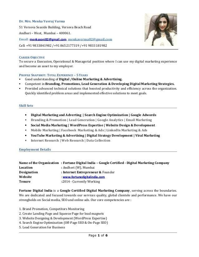 Menka Resume Digital Marketing And Advertising