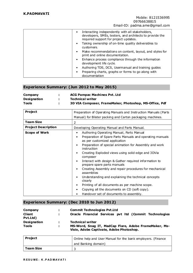 Technical writer resume padmavati (1)