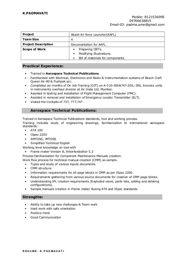 technical writer resume padmavati  1