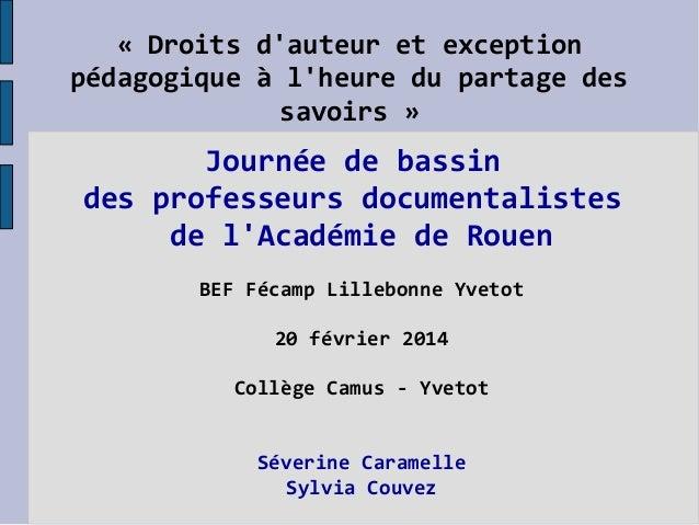 « Droits d'auteur et exception pédagogique à l'heure du partage des savoirs »  Journée de bassin des professeurs documenta...