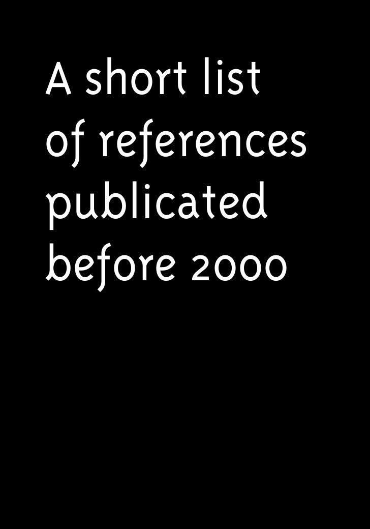 A short listof referencespublicatedbefore 2000