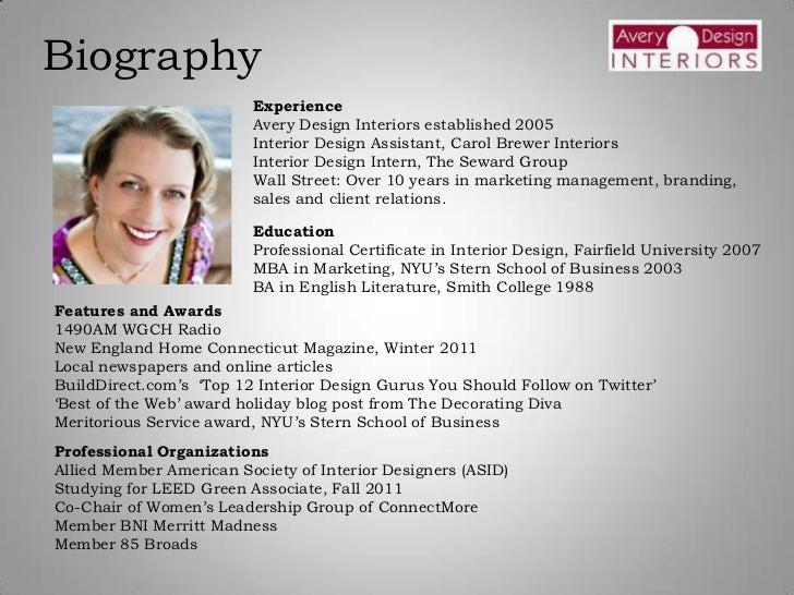 Interior designer biography for Construction bio