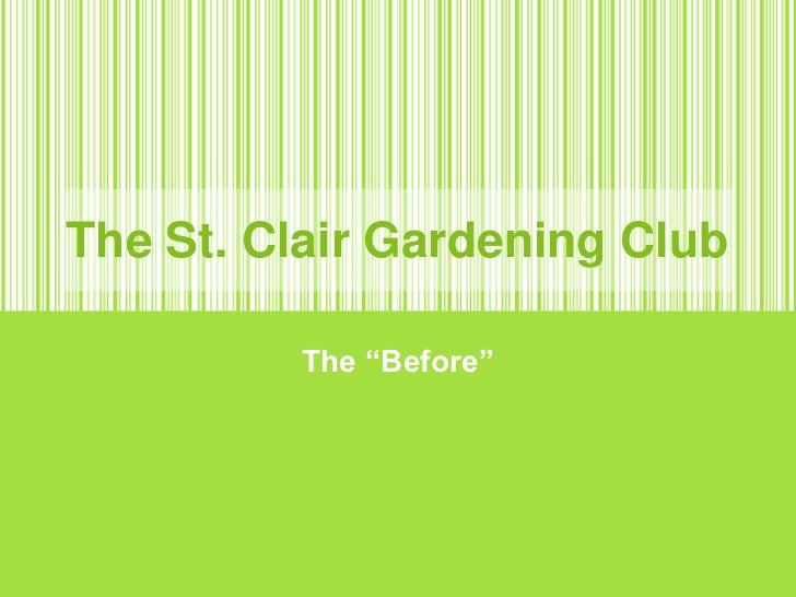 """The St. Clair Gardening Club<br />The """"Before""""<br />"""