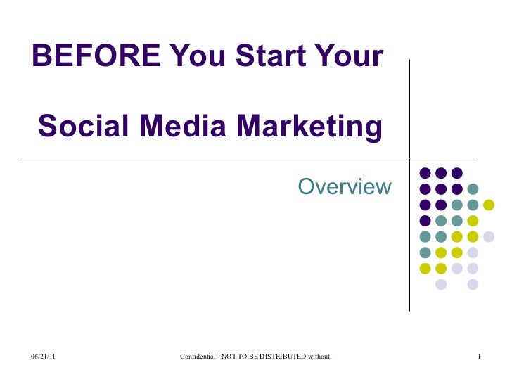 Overview BEFORE You Start Your  Social Media Marketing