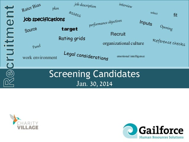 Screening Candidates Jan. 30, 2014 Recruit target organizational culture job specifications emotional intelligence fit pla...