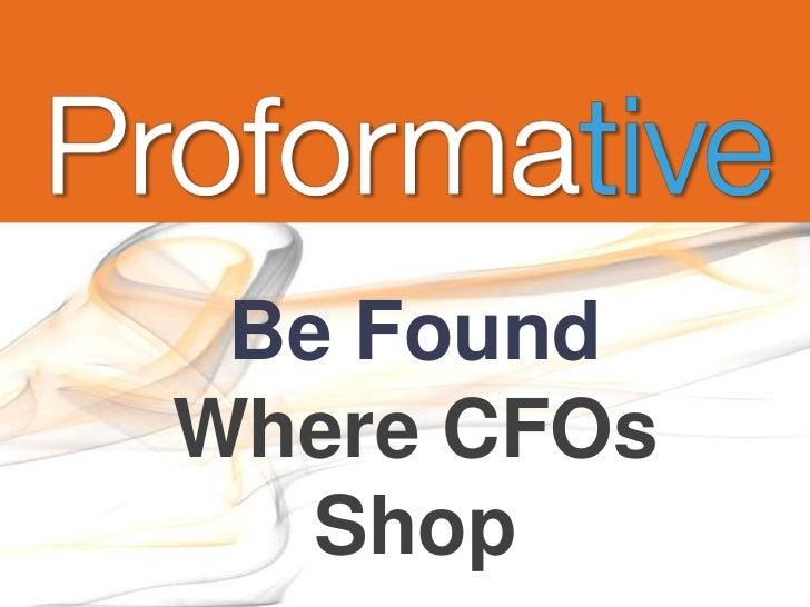 Be FoundWhere CFOs   Shop