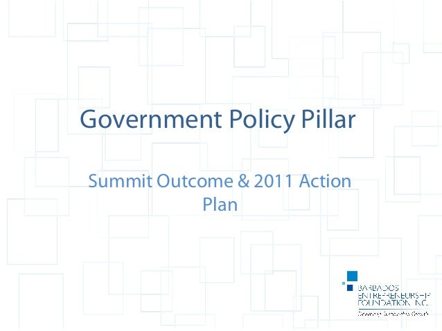 Government Policy Pillar Summit Outcome & 2011 Action Plan