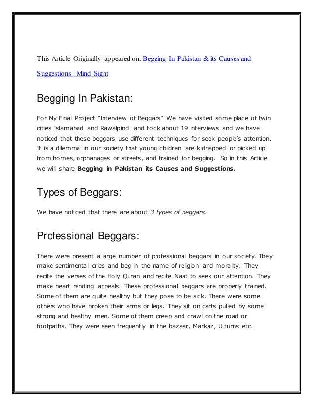 begging essay in english