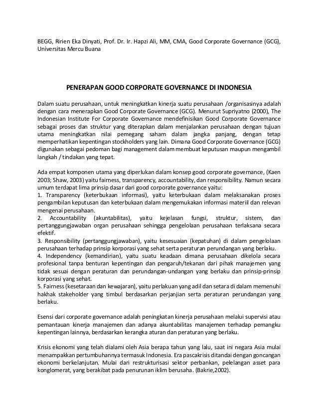 BEGG, Ririen Eka Dinyati, Prof. Dr. Ir. Hapzi Ali, MM, CMA, Good Corporate Governance (GCG), Universitas Mercu Buana PENER...