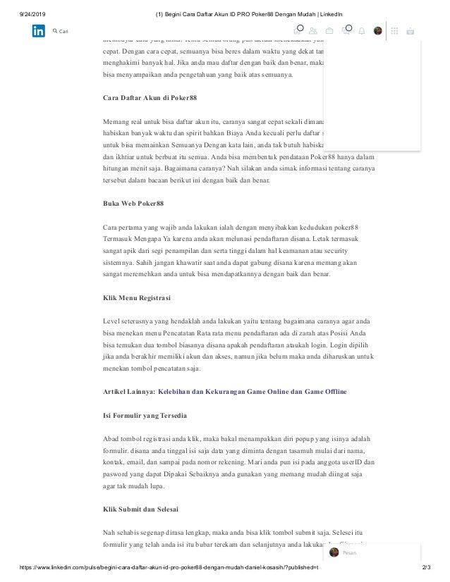 Begini Cara Daftar Akun Id Pro Poker88 Dengan Mudah