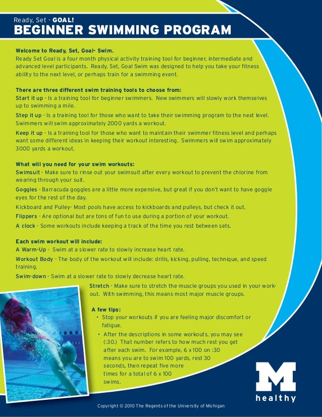 Welcome to Ready, Set, Goal- Swim. Ready Set Goal is a four month physical activity training tool for beginner, intermedia...