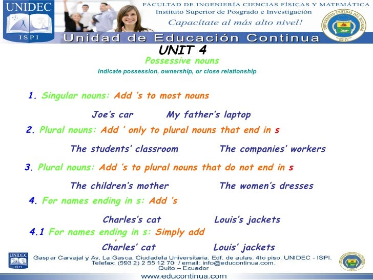 UNIT 4 Possessive nouns Indicate possession, ownership, or close relationship 1.   Singular nouns:   Add 's to most nouns ...