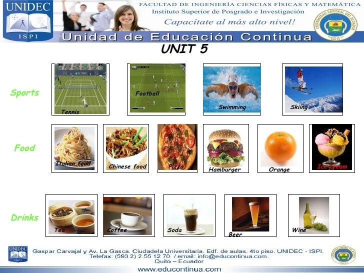 UNIT 5 Sports Food Drinks Tennis Football Swimming Skiing Italian food Chinese food Pizza Hamburger Orange Ice cream Tea C...