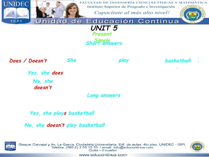 UNIT 5 Present Simple Short answers She basketball. Does / Doesn't play ? Yes, she  does No, she  doesn't Long answers Yes...