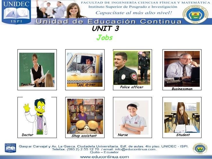 UNIT 3 Jobs Teacher Taxi driver Police officer Businessman Doctor Shop assistant Nurse Student