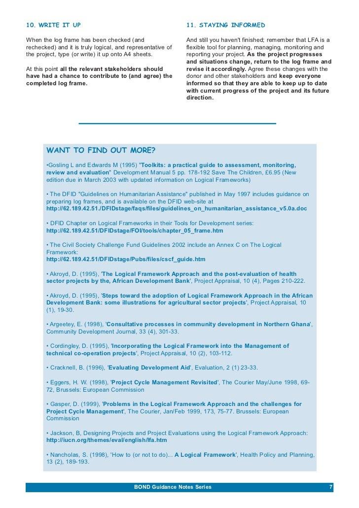 Beginners Guide To Logical Framework Approach (BOND)