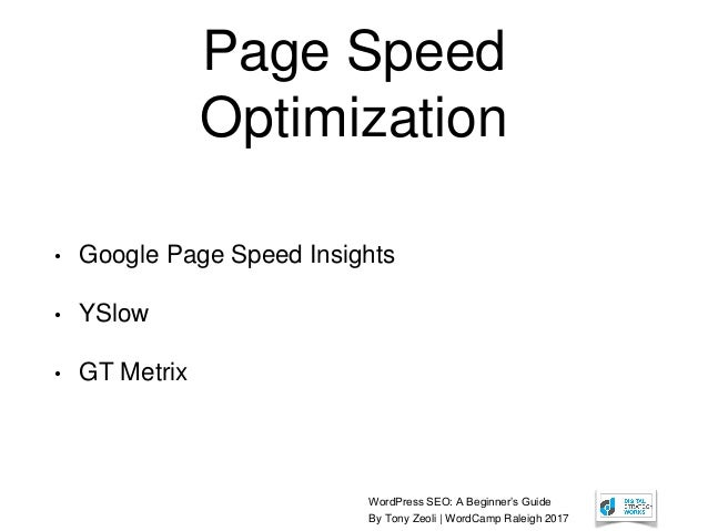 WordPress SEO: A Beginner's Guide By Tony Zeoli | WordCamp Raleigh 2017 Page Speed Optimization • Google Page Speed Insigh...