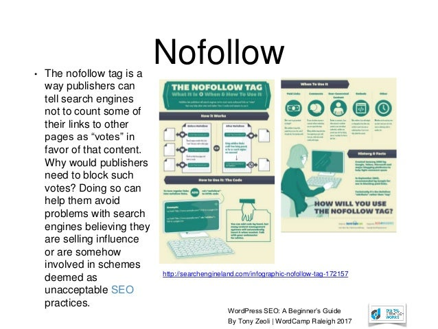 WordPress SEO: A Beginner's Guide By Tony Zeoli | WordCamp Raleigh 2017 http://searchengineland.com/infographic-nofollow-t...