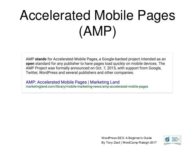 WordPress SEO: A Beginner's Guide By Tony Zeoli | WordCamp Raleigh 2017 Accelerated Mobile Pages (AMP)