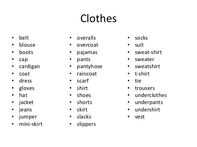 Beginner vocabulary clothes