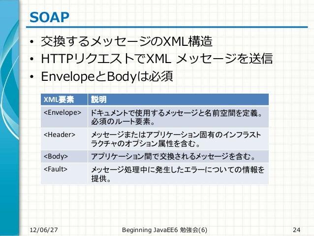SOAP • 交換するメッセージのXML構造 • HTTPリクエストでXML メッセージを送信 • EnvelopeとBodyは必須 12/06/27 Beginning JavaEE6 勉強会(6) 24 XML要素 説明 <Envelope...
