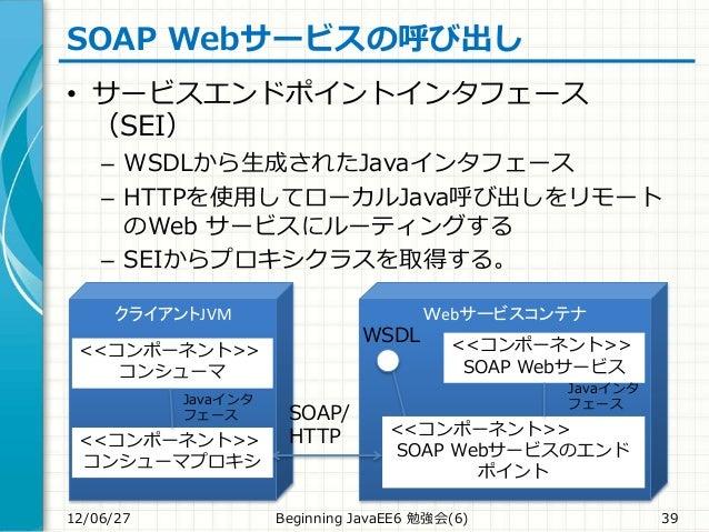SOAP Webサービスの呼び出し • サービスエンドポイントインタフェース (SEI) – WSDLから生成されたJavaインタフェース – HTTPを使用してローカルJava呼び出しをリモート のWeb サービスにルーティングする – SE...