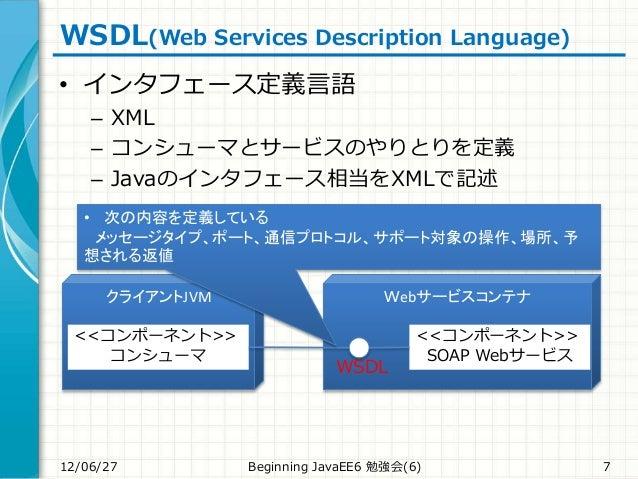 WSDL(Web Services Description Language) • インタフェース定義言語 – XML – コンシューマとサービスのやりとりを定義 – Javaのインタフェース相当をXMLで記述 12/06/27 Beginni...