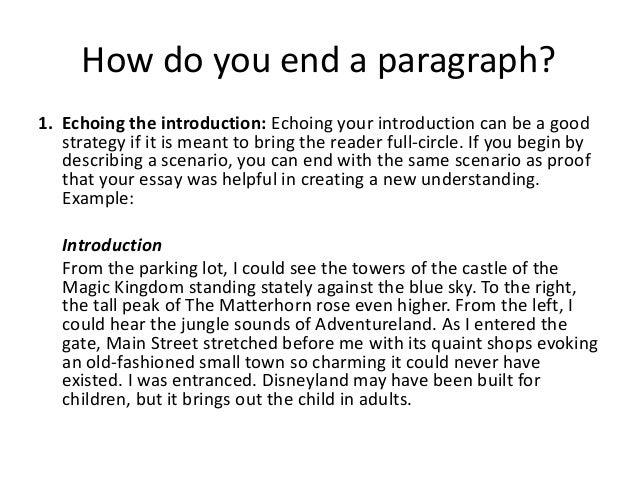 Paragraph Beginnings and Endings