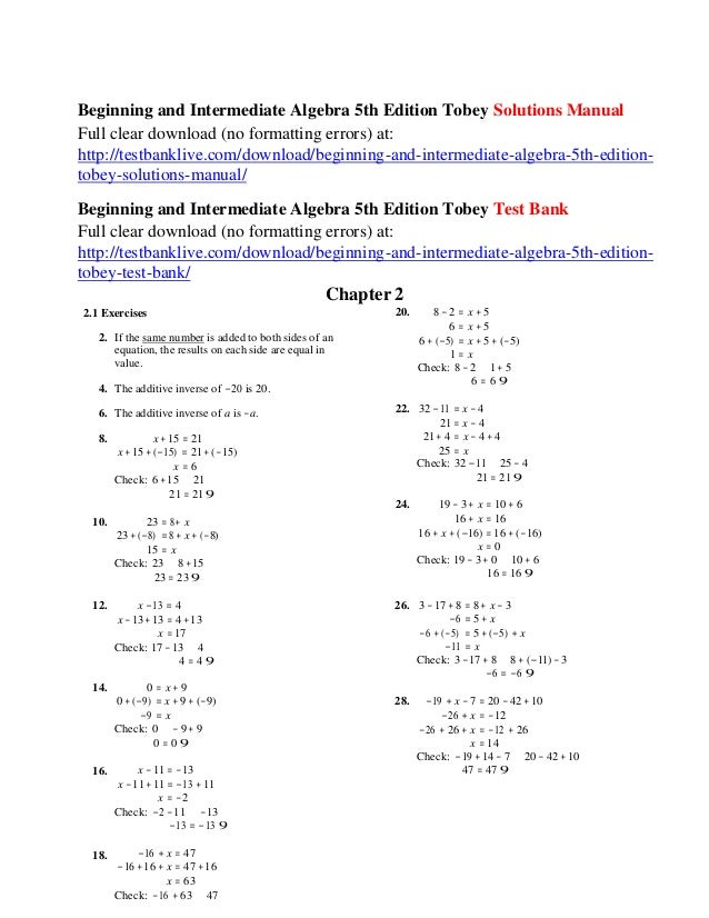 Beginning and intermediate algebra 5th edition tobey solutions manual beginning and intermediate algebra 5th edition tobey solutions manual full clear download no formatting errors fandeluxe Images