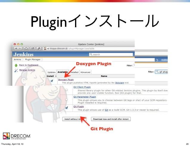 PluginインストールDoxygen PluginGit Plugin20Thursday, April 18, 13