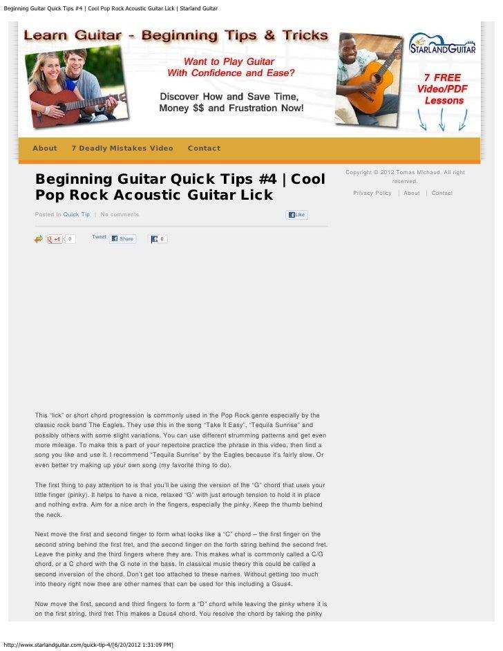 Beginning Guitar Quick Tips 4 Cool Pop Rock Acoustic Guitar Lick