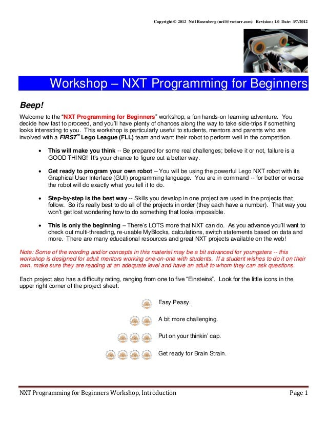 Beginning nxt programming_workshop in Computer education robotics who…