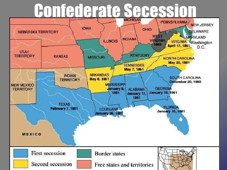 Beginning Of The Civil War Powerpoint US History I - Secession map of us 1860