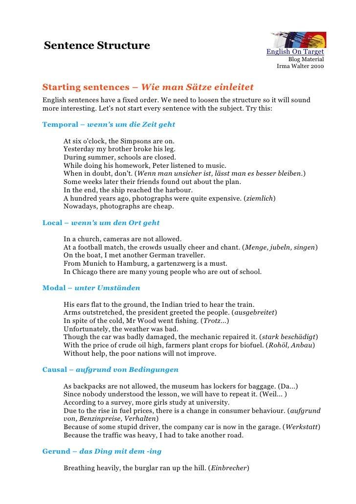 Beginning sentences sentence structure m4hsunfo