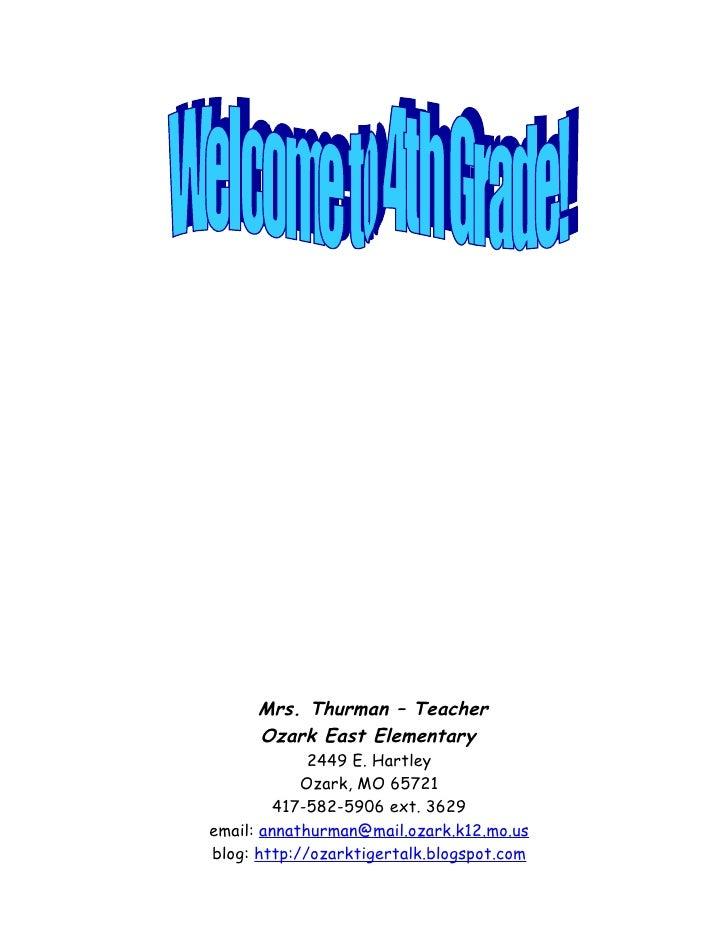 Mrs. Thurman – Teacher       Ozark East Elementary              2449 E. Hartley             Ozark, MO 65721          417-5...