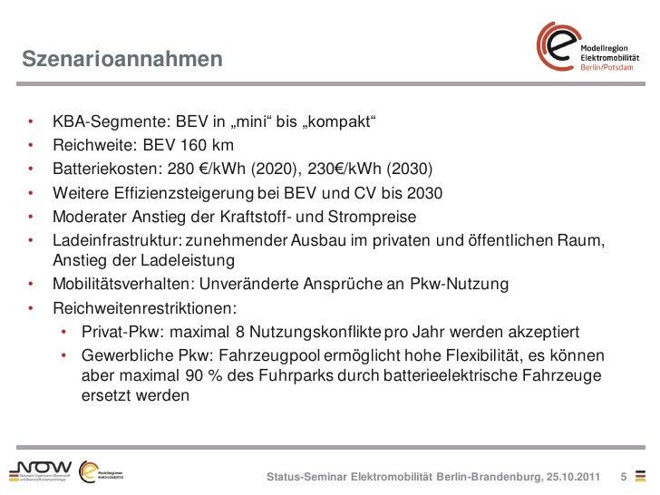"Szenarioannahmen•   KBA-Segmente: BEV in ""mini"" bis ""kompakt""•   Reichweite: BEV 160 km•   Batteriekosten: 280 €/kWh (2020..."