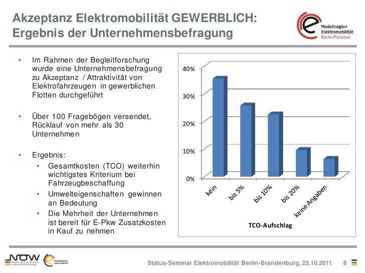 Akzeptanz Elektromobilität GEWERBLICH:Ergebnis der Unternehmensbefragung•   Im Rahmen der Begleitforschung    wurde eine U...