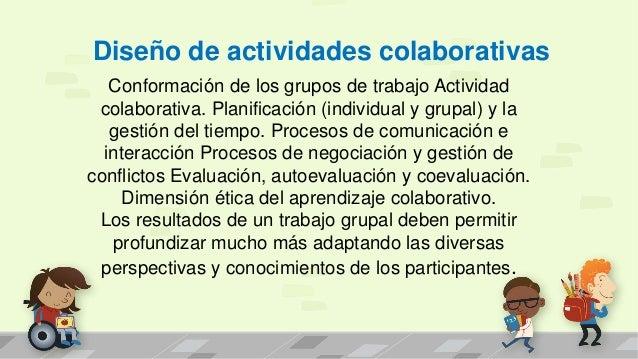 Diseño de actividades colaborativas Conformación de los grupos de trabajo Actividad colaborativa. Planificación (individua...